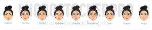 Young female face with different expressions set - Vector illustrations for everyone | Microstocker.Pro