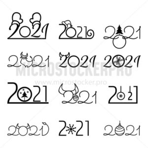 2021 new year labels in different shapes - Vector illustrations for everyone | Microstocker.Pro