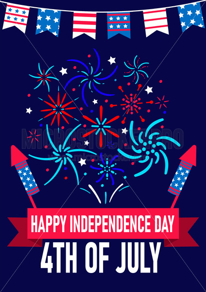 4th of july usa independence greeting card - Vector illustrations for everyone | Microstocker.Pro
