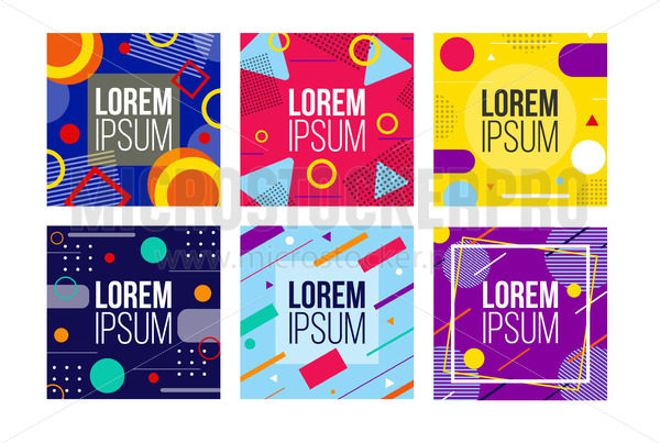 Abstract bright colourful banners set in square - Vector illustrations for everyone | Microstocker.Pro