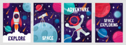 Abstract cosmic cards set with lettering
