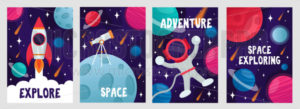 Abstract cosmic cards set with lettering - Vector illustrations for everyone | Microstocker.Pro