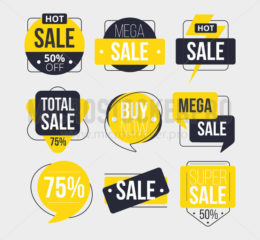 Abstract sale labels set with inscription