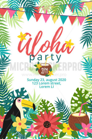 Aloha party tropical invitation with bird - Vector illustrations for everyone | Microstocker.Pro