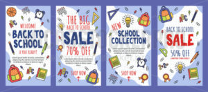 Back to school sale banner template collection - Vector illustrations for everyone | Microstocker.Pro