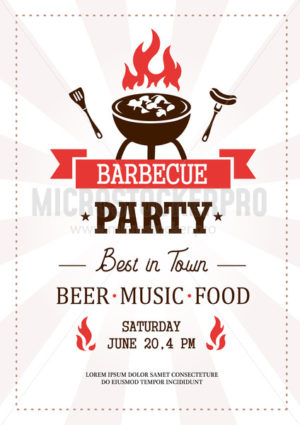 Barbeque party best in town template with text - Vector illustrations for everyone | Microstocker.Pro