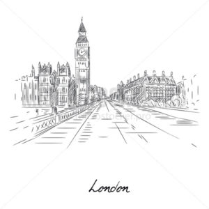 Beautiful london city sketch with pencil on paper - Vector illustrations for everyone | Microstocker.Pro