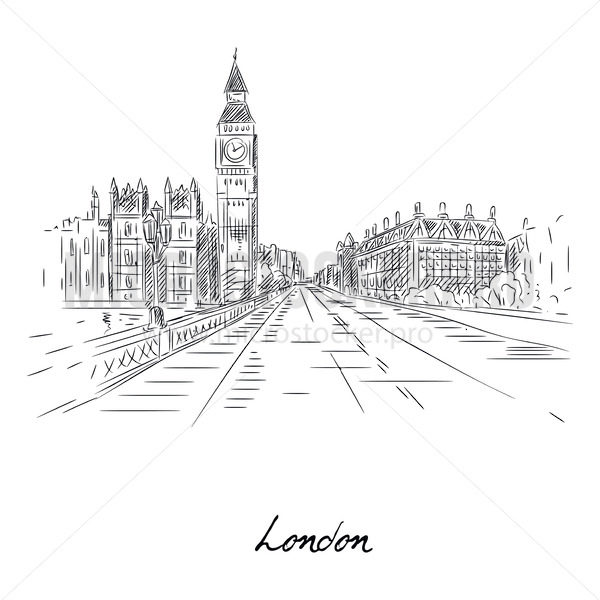 Beautiful london city sketch with pencil on paper - Vector illustrations for everyone   Microstocker.Pro