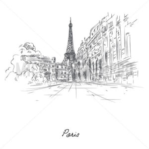 Beautiful paris city sketch painted with pencil on paper - Vector illustrations for everyone | Microstocker.Pro