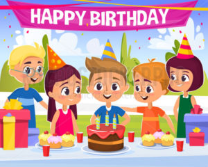 Birthday party vector illustration with happy kids - Vector illustrations for everyone | Microstocker.Pro