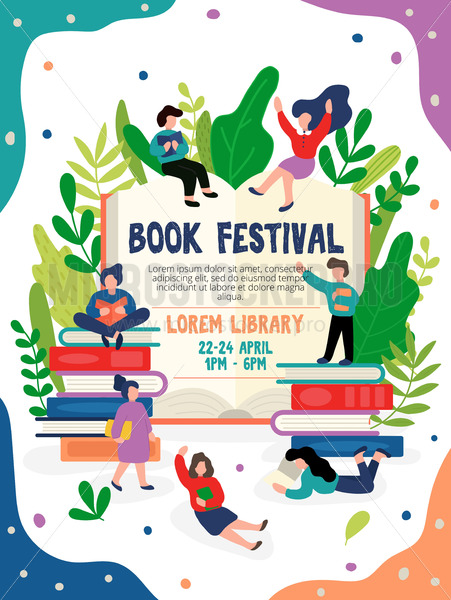 Book festival invitation or poster with address - Vector illustrations for everyone | Microstocker.Pro