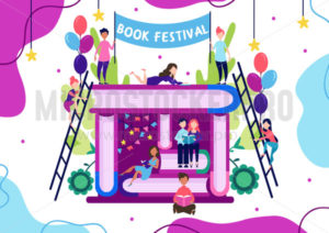 Book festival with handwritten white lettering - Vector illustrations for everyone | Microstocker.Pro