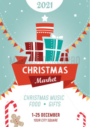 Bright colourful christmas market poster template - Vector illustrations for everyone | Microstocker.Pro