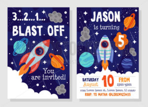 Bright cosmic space party invitation template - Vector illustrations for everyone | Microstocker.Pro