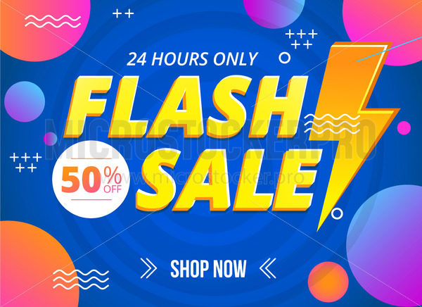 Bright flash sale banner template with sign - Vector illustrations for everyone | Microstocker.Pro