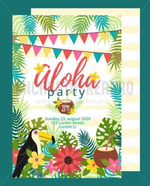 Bright fun aloha party invitation template - Vector illustrations for everyone | Microstocker.Pro