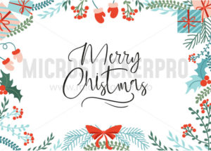 Bright greeting card with merry christmas lettering - Vector illustrations for everyone | Microstocker.Pro