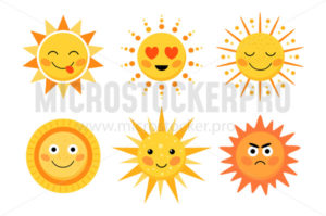 Bright yellow sun cute character with smile - Vector illustrations for everyone | Microstocker.Pro