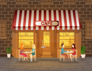Cafe facade with evening with people drinking coffee - Vector illustrations for everyone | Microstocker.Pro