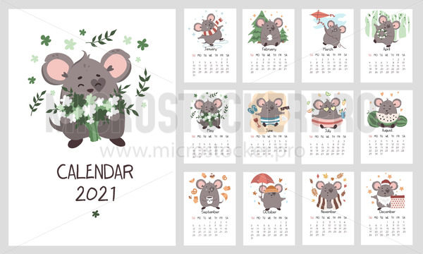Calendar 2021 template with cute mouse character - Vector illustrations for everyone | Microstocker.Pro