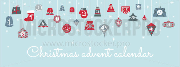 Christmas festive advent calendar with numbers - Vector illustrations for everyone | Microstocker.Pro