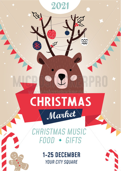 Christmas market poster template with bear - Vector illustrations for everyone | Microstocker.Pro