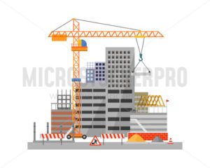 City construction process on white background - Vector illustrations for everyone | Microstocker.Pro