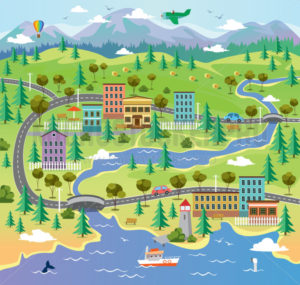 City landscape with building parks and roads - Vector illustrations for everyone | Microstocker.Pro
