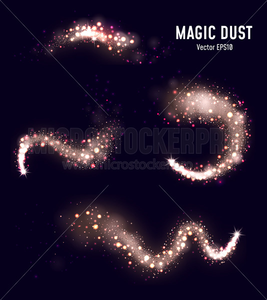 Collection of magic dust with sparkles on black - Vector illustrations for everyone | Microstocker.Pro