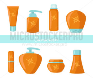 Collection of sunscreen protection bottles cosmetics - Vector illustrations for everyone | Microstocker.Pro
