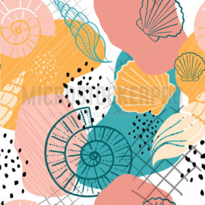 Colourful bright seashells pattern design - Vector illustrations for everyone | Microstocker.Pro