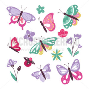 Colourful cute butterflies set isolated on white background - Vector illustrations for everyone | Microstocker.Pro