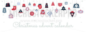 Colourful festive christmas advent calendar - Vector illustrations for everyone | Microstocker.Pro