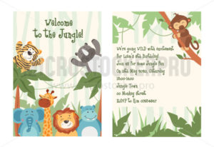 Cute baby jungle party invitation template - Vector illustrations for everyone | Microstocker.Pro