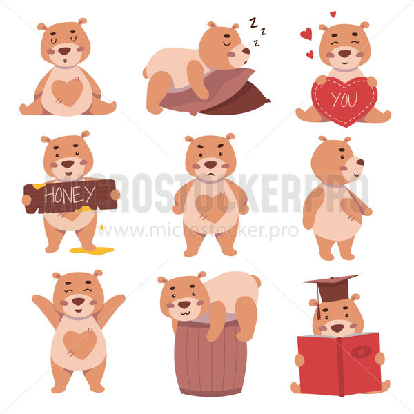 Cute bear characters in different activities and situations set - Vector illustrations for everyone | Microstocker.Pro