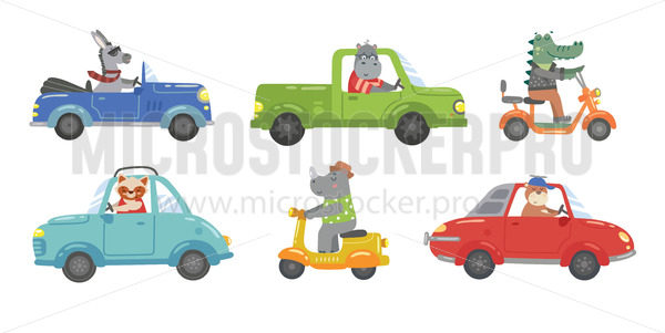 Cute bright animals ceremony in colourful cars - Vector illustrations for everyone | Microstocker.Pro
