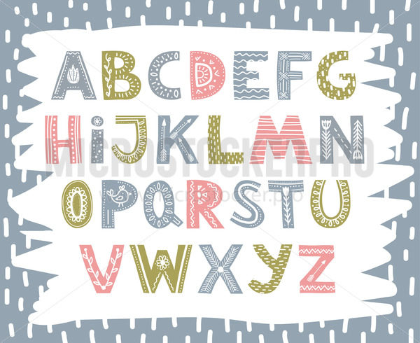 Cute colourful font in scandinavian style - Vector illustrations for everyone | Microstocker.Pro