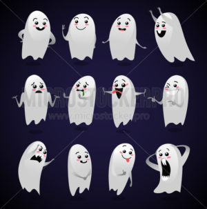 Cute ghosts with different facial expressions - Vector illustrations for everyone | Microstocker.Pro