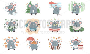 Cute mouse character set isolated on white background - Vector illustrations for everyone | Microstocker.Pro