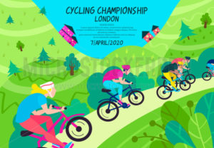 Cycling championship in green wooded area - Vector illustrations for everyone | Microstocker.Pro