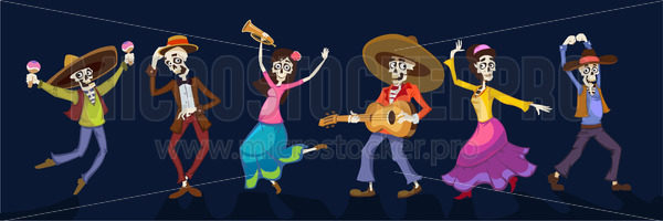 Day of dead dancing people in holiday costumes - Vector illustrations for everyone | Microstocker.Pro