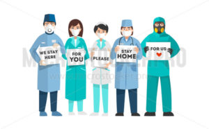 Doctors coronavirus fighters ask for support with plates - Vector illustrations for everyone | Microstocker.Pro