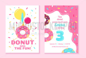 Donut fun party invitation design template - Vector illustrations for everyone | Microstocker.Pro