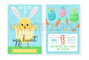 Easter egg hunt event invitation template - Vector illustrations for everyone | Microstocker.Pro