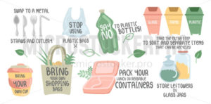 Eco handwritten quotes and colourful objects - Vector illustrations for everyone | Microstocker.Pro