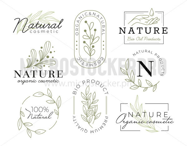 Elegant cosmetics labels with inscriptions - Vector illustrations for everyone | Microstocker.Pro