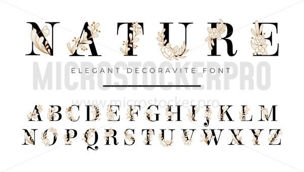 Elegant font with floral decoration on letters - Vector illustrations for everyone | Microstocker.Pro