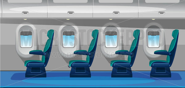 Empty airplane salon with comfortable seats - Vector illustrations for everyone | Microstocker.Pro
