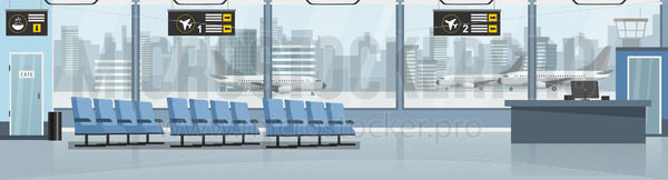 Empty airport with airplanes and terminal - Vector illustrations for everyone | Microstocker.Pro