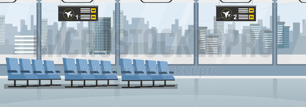 Empty airport with blue seats and windows - Vector illustrations for everyone | Microstocker.Pro